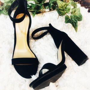 Wild Diva Black Suede Ankle Strap Heels